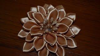 getlinkyoutube.com-Нежный цветок. Цветы из лент!!!