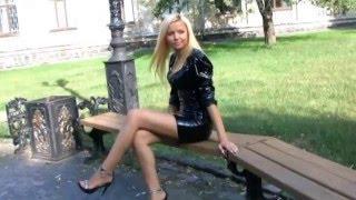 getlinkyoutube.com-Blonde  in black pvc dress