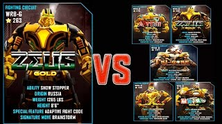getlinkyoutube.com-Real Steel WRB ZEUS Gold VS PRO Gold Robots Series of fights NEW ROBOT (Живая Сталь)