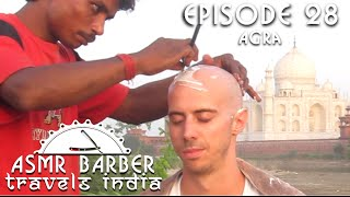 Indian Street Barber Face and Head Shave at Taj Mahal - ASMR intentional