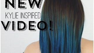 getlinkyoutube.com-DIY Kylie Jenner Inspired dark root to teal ombre