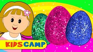 getlinkyoutube.com-Suprise Eggs Nursery Rhymes | Play Doh Surprise Eggs with Elly and Eva by KidsCamp