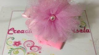 getlinkyoutube.com-Diadema con flor de tela y tul Creaciones Rosa Isela VIDEO 248