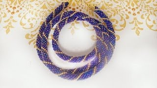getlinkyoutube.com-Вязаный жгут из бисера. Knitted plait of beads.