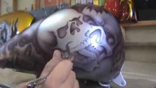 How to Airbrush Skulls Using Skull Stencils - Airbrush Artist Stuart Vimpani