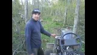 getlinkyoutube.com-Homemade tractor running in logging part3 - first drive out of felling area