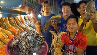 FRESHEST SEAFOOD FEAST! INSANE Seafood Meal at Dampa Market Manila Philippines width=