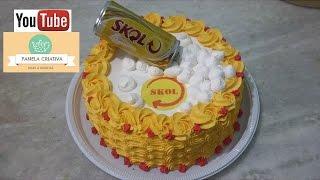 getlinkyoutube.com-Bolo Skol com latinha/Bolo cerveja/decorando bolo simples com chantilly.
