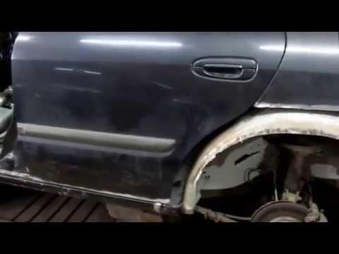 Mazda 626. Replacement of a rocker panel and wheel wells. Замена порога и задней арки.