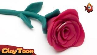 Pink flower (Rose) - Polymer clay tutorial | وردة - تشكيل صلصال للأطفال