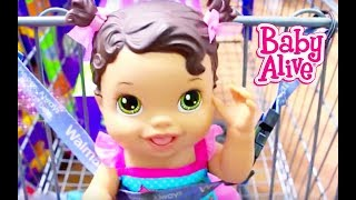 getlinkyoutube.com-Baby Alive GOES SHOPPING Baby Alive Doll Buys Diapers Baby Alive Toys Clothes NEW BABY Compilation
