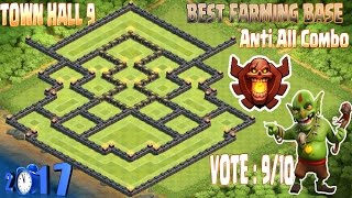 getlinkyoutube.com-Best Th9 farming base champion. Town hall 9 New Update Clash Of Clans 2017