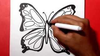getlinkyoutube.com-how to draw a butterfly / Como dibujar una mariposa /como hacer una mariposa/ Dibujos para colorear