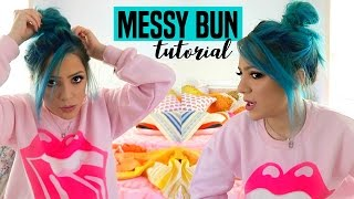 getlinkyoutube.com-How to do the Perfect Messy Bun + GET READY WITH ME! Niki DeMar