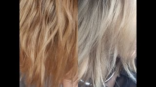 getlinkyoutube.com-How To Tone Brassy Blonde Hair - DEMO with Wella T18 + T11