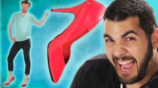 getlinkyoutube.com-Guys Wear Heels For The First Time