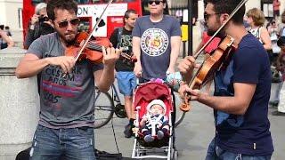 getlinkyoutube.com-Hey Soul Sister Amazing street performers Violin Cover Songs - live Street Performance