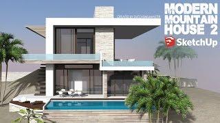 getlinkyoutube.com-Sketchup - Speed Build - Modern Mountain House 2