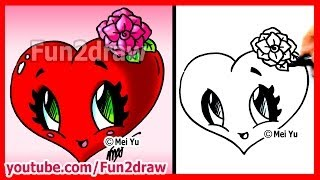 getlinkyoutube.com-How to Draw Easy Things - Heart with Rose - Fun2draw Valentine's