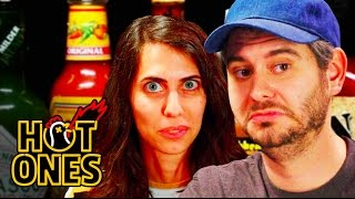 H3H3 Productions Does Couples Therapy While Eating Spicy Wings | Hot Ones width=