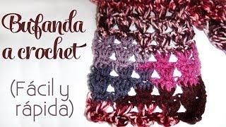 getlinkyoutube.com-Cómo tejer: Bufanda a crochet (fácil y rápida)