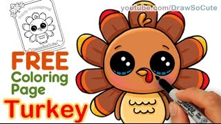 getlinkyoutube.com-How to Draw a Cute Turkey step by step Easy Thanksgiving