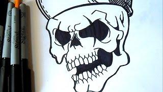 getlinkyoutube.com-Comment dessiner  un crâne | Graffiti