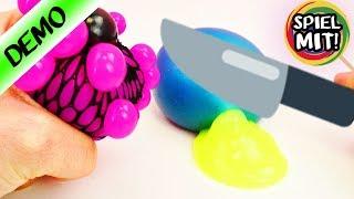 getlinkyoutube.com-SQUISHY MESH BALL ZERSCHNEIDEN! Schleim Glibber Experimente - Spielzeug aufschneiden
