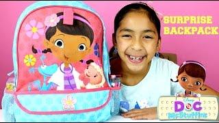 getlinkyoutube.com-Doc McStuffins Huge Surprise Backpack Disney Avengers Hello Kitty Activity Kit|B2cutecupcakes
