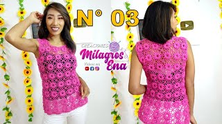 getlinkyoutube.com-Blusa Rosada tejida con motivos a crochet paso a paso - TEJIDOS MILAGROS ENA