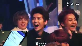 EXO Luhan's reaction to his own drama,sooo funny! @SBS Gayo Daejeon Fancam width=