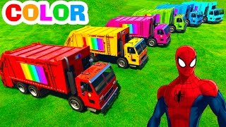 getlinkyoutube.com-COLOR Garbage TRUCKS and Spiderman Cars Cartoon with Colors for Kids w Funny Children Nursery Rhymes