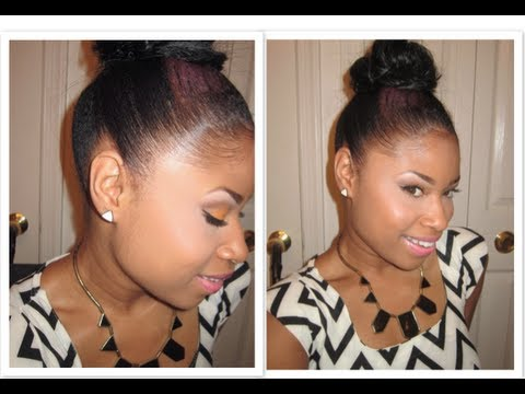 LAY them EDGES like a RELAXER!! + Top Knot Bun