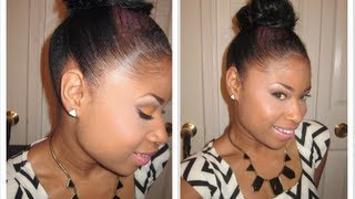 getlinkyoutube.com-LAY them EDGES like a RELAXER!! + Top Knot Bun