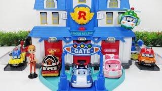 getlinkyoutube.com-로보카폴리 열리는 구조본부 플레이 세트 엠버 로이 헬리 뽀로로 장난감 Robocar Poli rescue Center Headquarter Play set toy