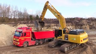 getlinkyoutube.com-New Komatsu PC490-10 Excavator Loading Volvo And Great Sounding Scania V8 Trucks