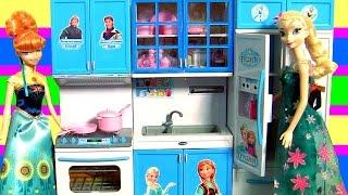 getlinkyoutube.com-Cozinha Infantil Princesa Anna e Elsa Febre Congelante do Filme Disney Frozen Completo em Portugues