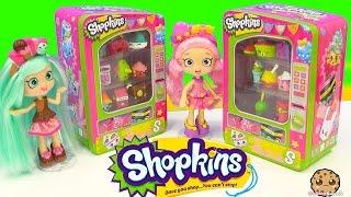 getlinkyoutube.com-Shopkins Vending Machine Unboxing Season 4 & 3 with Shoppies Dolls Peppa Mint + Bubbleisha