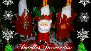 getlinkyoutube.com-Como hacer Botellas decoradas Navideñas/How to make Christmas bottles  🎅🎄