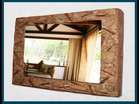 Marco de espejo con caja de pizza, imitación barro / Mirror frame with pizza box (DIY) - Soy Georgio