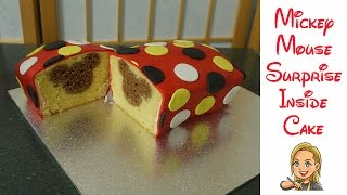 getlinkyoutube.com-Mickey Mouse Surprise Inside Cake
