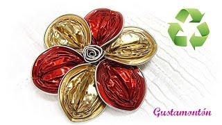 getlinkyoutube.com-Como hacer un broche flor con capsulas. Capsules flower.