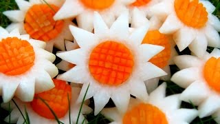 getlinkyoutube.com-Art In Vegetable White SunFlowers | Vegetable Carving Garnish | Party Garnishing