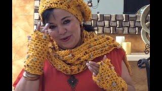 getlinkyoutube.com-JUEGO TEJIDO FLOWER - Mitones tejidos con dedos fácil y rápido - Tejiendo con LAURA CEPEDA
