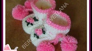 getlinkyoutube.com-Пинетки с розочками или как связать пинетки спицами?how to knit booties spokes