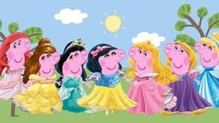 getlinkyoutube.com-Princess Peppa Pig  Costume Disfraces Party Disney Princess Cinderella Ariel Rapunzel Snow White