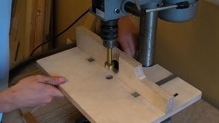 getlinkyoutube.com-Building A Pillar Drill / Drill Press Table (adjustable fence, extraction hose & inlaid rulers)