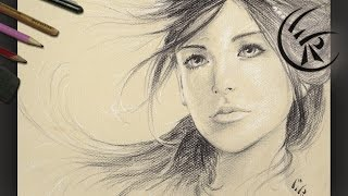 "getlinkyoutube.com-Drawing ""Girl Portrait"" ►► Timelapse"