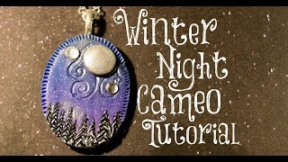 getlinkyoutube.com-Winter Night Cameo Polymer Clay Tutorial   Velvetorium   軟陶, Полимерная Глина, Arcilla Polimérica.
