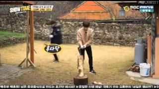 getlinkyoutube.com-151217 INFINITE Showtime - Myungyeol Chopping woods cut